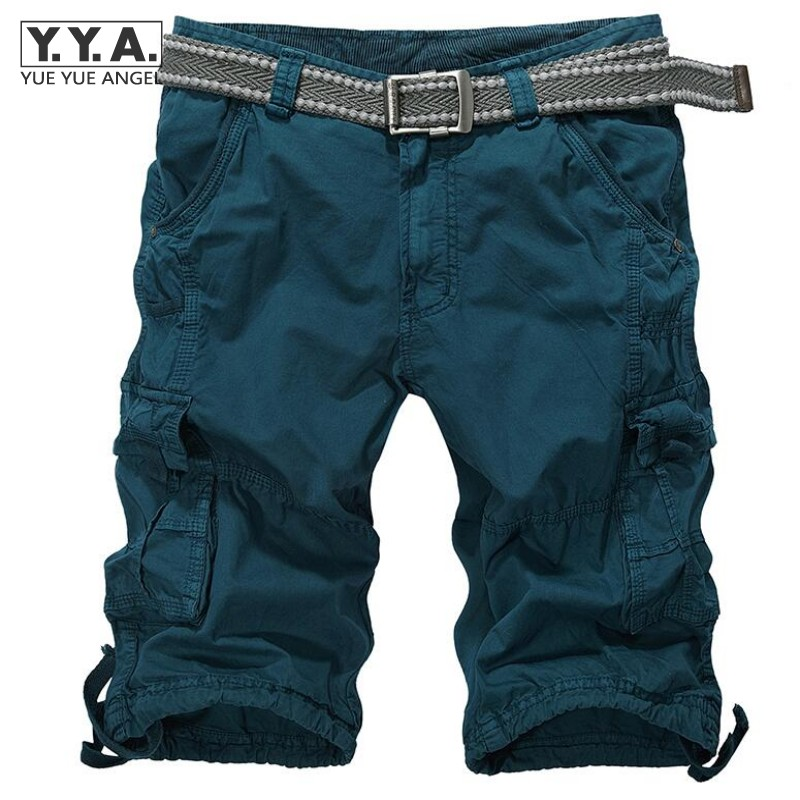 2017 Summer Fashion Men Casual Shorts Cotton Slim Bermuda Masculina Beach Shorts Knee Length Trousers Multi-Pockets Cargo Shorts