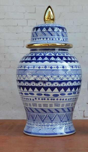 18 Inches European style blue and white porcelain ginger jar ceramic