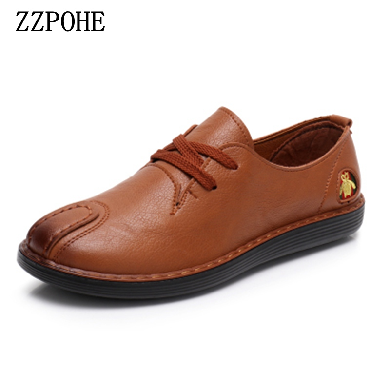 ZZPOHE Women soft Leather Flat Shoes Fashion Casual Comfortable Ladies Shoes Slip on Pregnant Women Shoes Female Driving Shoe women s shoes 2017 summer new fashion footwear women s air network flat shoes breathable comfortable casual shoes jdt103