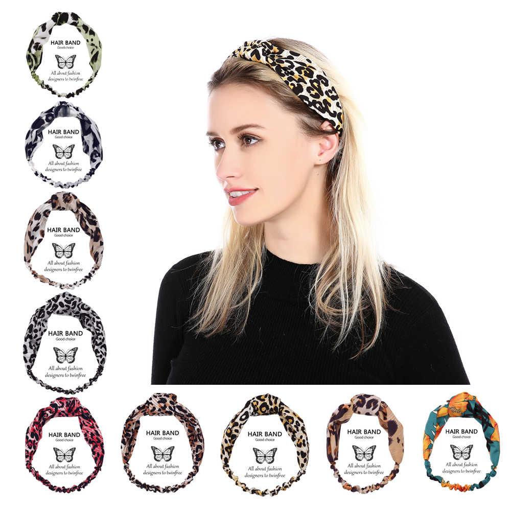 New Fashion Women Elastic Band Hair Band Floral Leopard Print Headband  Korean Bandanas Head Wrap Hair 9a213a3e04e5
