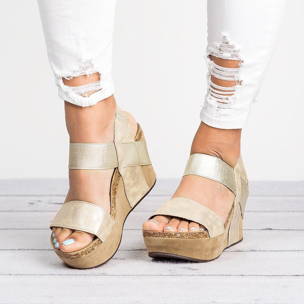 Shoes Wedge Sandals Comfortable Casual Soft Solid Hot-Sale High-Quality