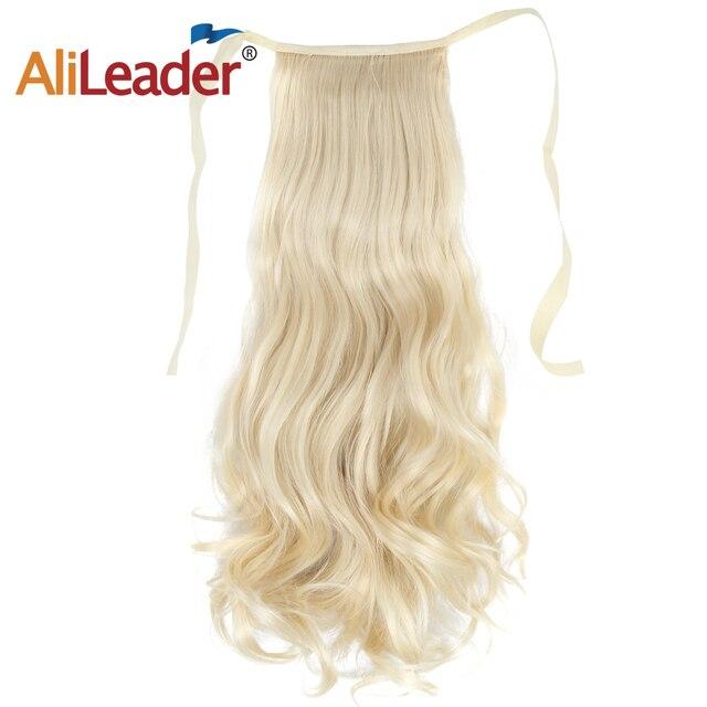 Alileader Curly Tie Up Cola de Caballo extensión de pelo sintético cinta Natural Real envolver alrededor de la horquilla Clip en extensiones de cabello