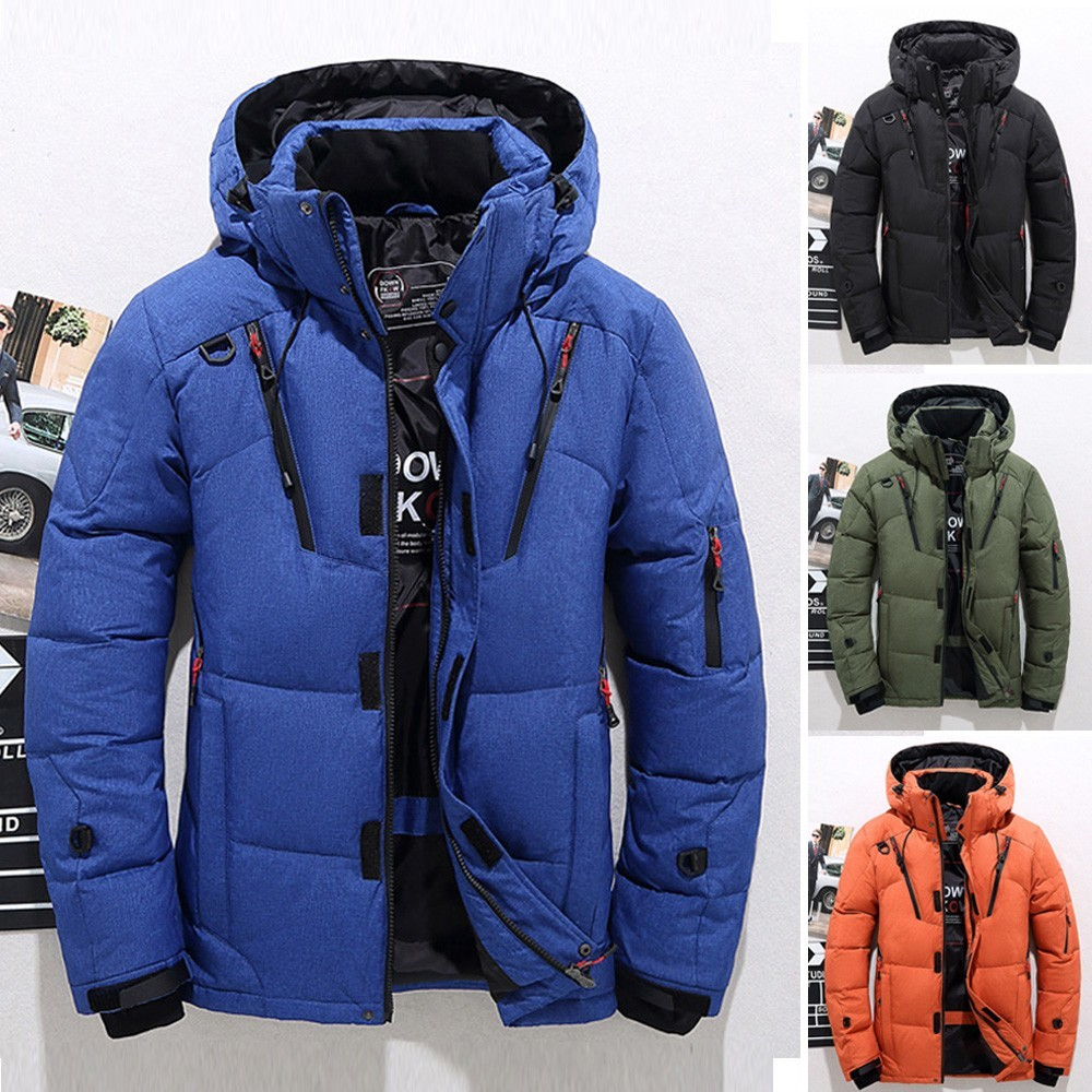 2018 Men Down Coat Casual Warm Hooded Winter Zipper Outwear Solid Male Jacket