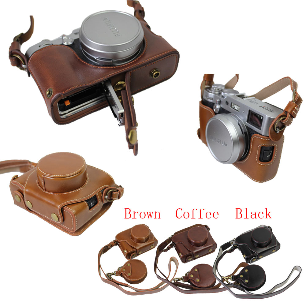 цена Newest Pu Leather Camera Case Bag For Fuji X100F Fujifilm X100F Protective Bag With Strap Min Battery Case Open Battery Design