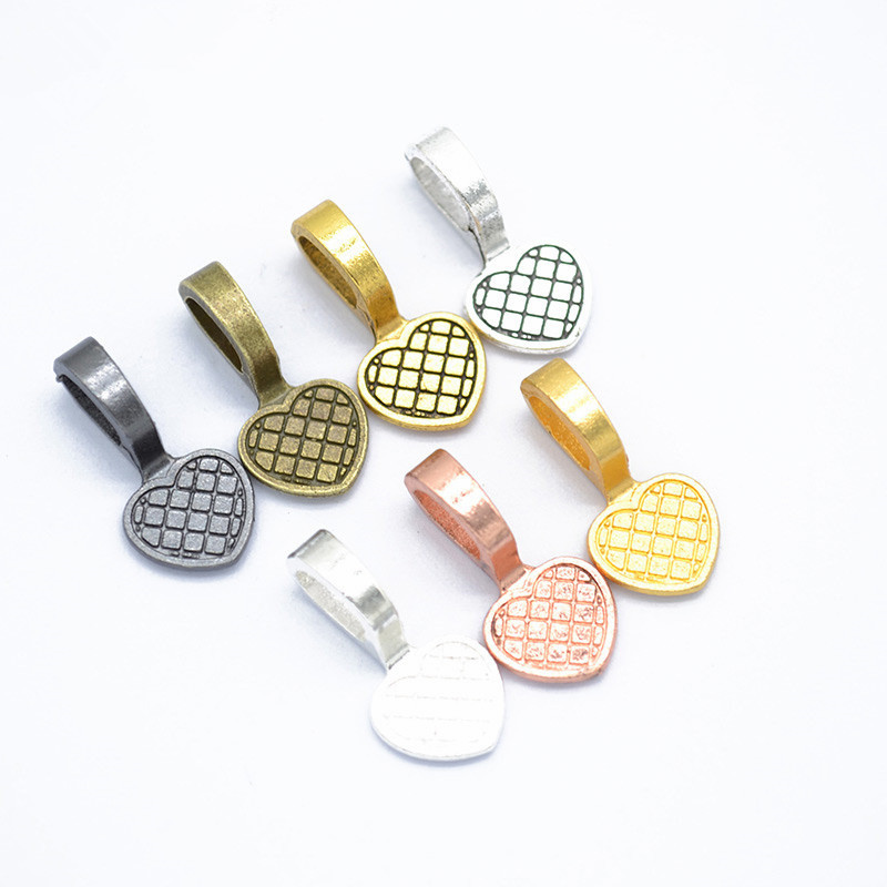 20pcs 19X9MM Alloy Antique Silver Heart Glue-on Flat Pad Bails Pad Tiles Pendant Bails Cabochon Setting Jewelry Findings Lead
