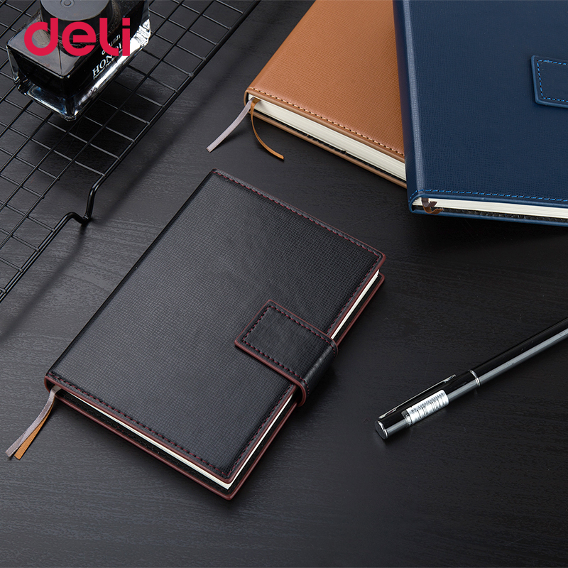 Deli Wholesale elegant business leather notebook for school supplies stationery office vintage diary planner book travel notepad deli 3164 notebook business meeting diary book with a gel pen black leather stationery thick notebook