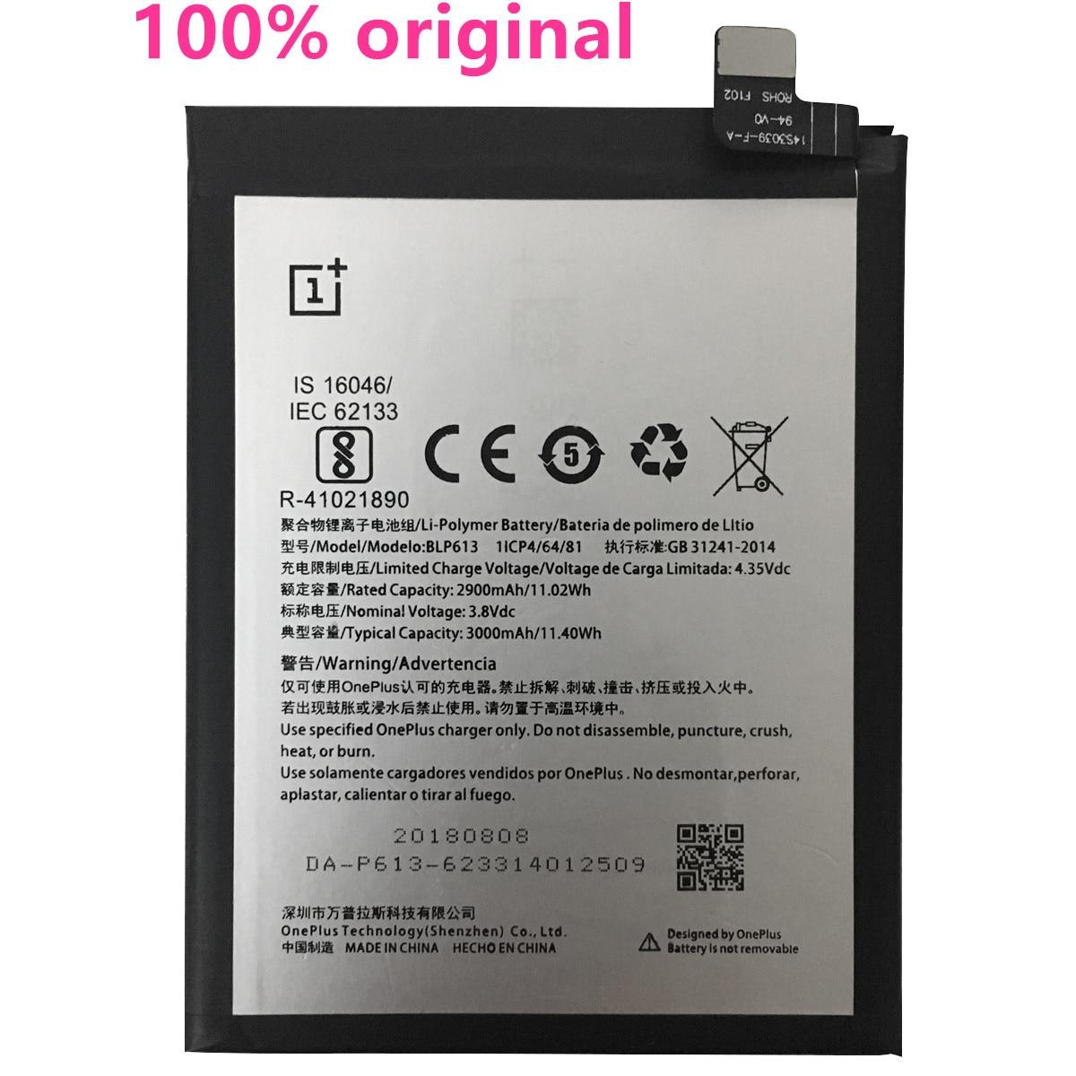 100% original 3000 mah bateria para oneplus 3 um mais 3 blp613 bateria de alta qualidade