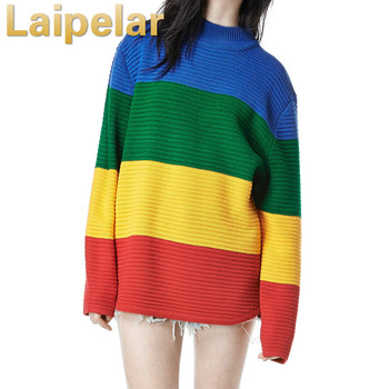 Laipelar Women Color Block Winter Sweater Rainbow Patchwork Knitted Loose Oversized Tops Jumper Spring Women Pullovers Sweaters color block striped jumper