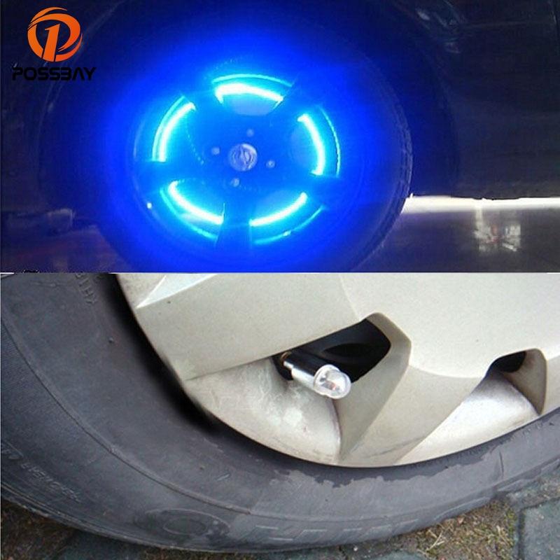 POSSBAY Universal Blue LED Light Auto Car Tyre Valve Caps Motorcycle Bicycle Wheel Tire Valve Cap Blue LED Car Tire