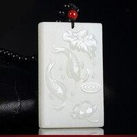 KYSZDL Naturalne On Tian Baiyu mężczyźni Ręcznie rzeźbione lotosu ryb Party Brak karty karty Wisiorek Naszyjnik Prezent biżuteria