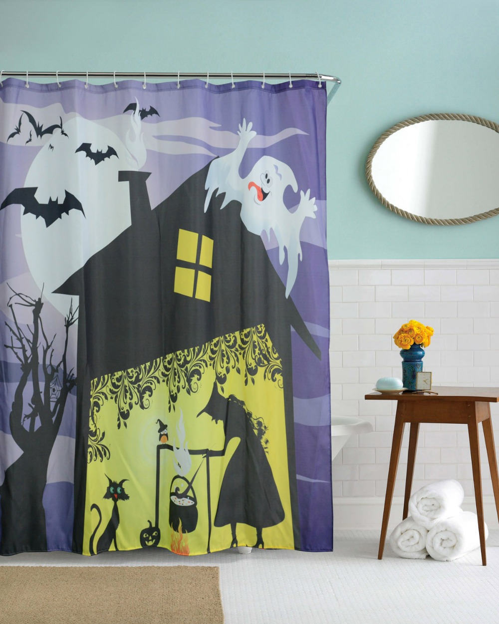 Halloween shower curtain - Witch House Halloween Waterproof Bathroom Shower Curtains Polyester Fabric 3d Pokemon Style Bath Curtains Cortinas With 12 Hooks