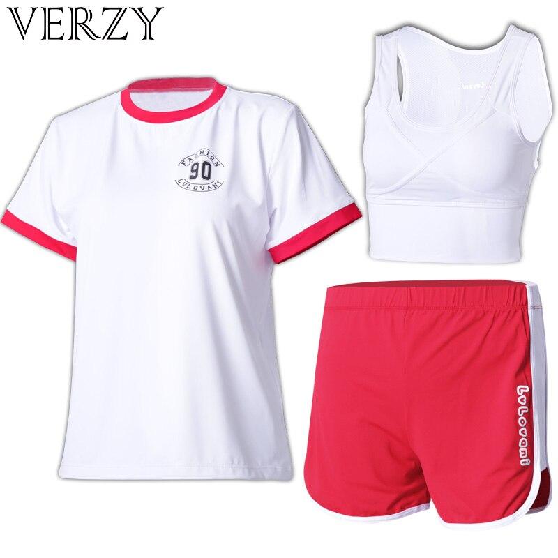 ✔  Женский летний костюм йоги синий красный и белый футболка шорты бюстгальтер 3 шт. Спортивная одежда  ✔