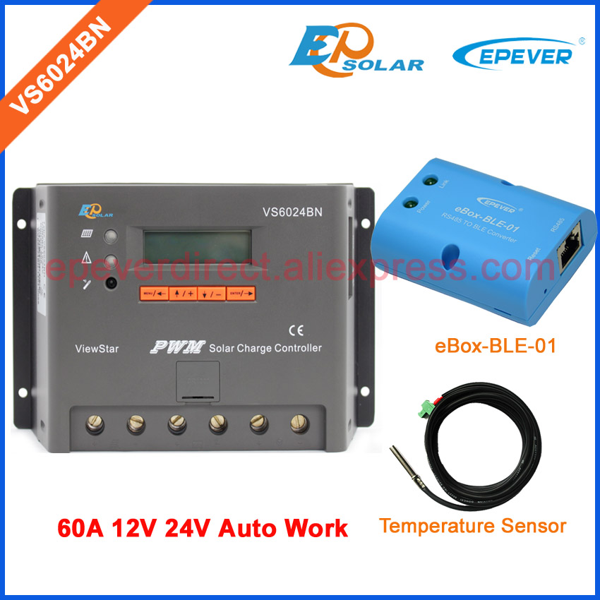 VS6024BN 60A 24V PWM EPSolar solar Charging controller with temperature sensor cable 60amps EPEVER BLE bluetooth box