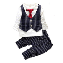 2016 Spring&Autumn New Baby Boy Cheap luxury designer Long Sleeve t-shirt + pants suit boys gentleman Clothing Set free shipping