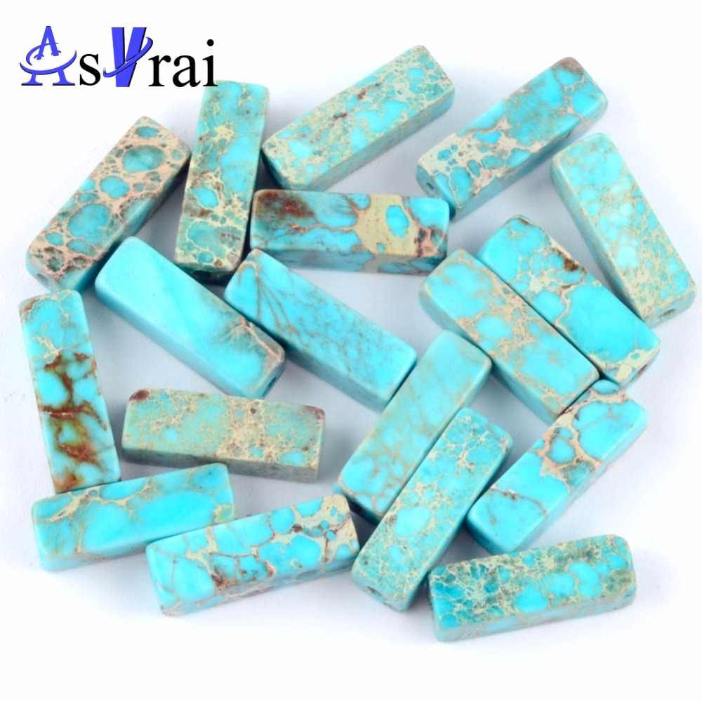 4x13mm Natural Lake Blue Sea Sediment Jaspers Tube Spacer Beads For Jewelry Making 30pcs/strand Long Column Beads Diy Bracelets