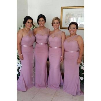 Modest One Shoulder Bridesmaid Dresses 2020 Vestido De Festa Longo Sheer Mermaid Dress For Wedding Party Formal Women Gowns