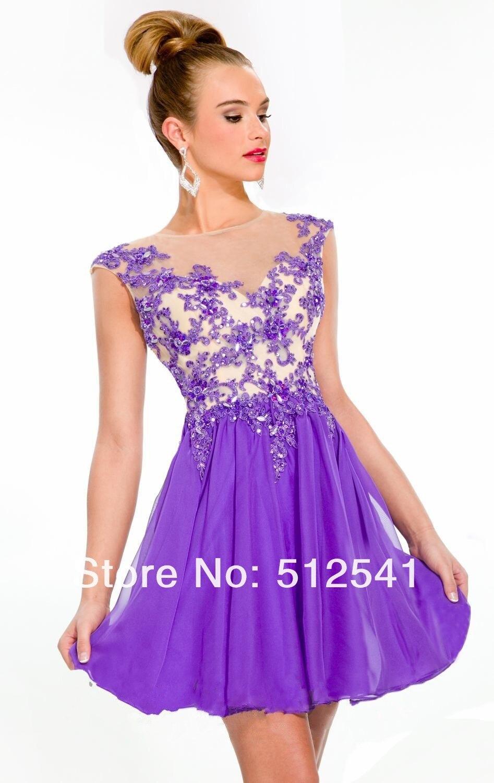 Caliente venta de la manga casquillo púrpura Applique moldeado corto ...