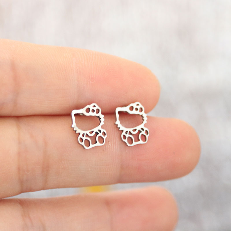 Everfast 1Pair Cute Stainless Steel Cats Earrings Hollowed Kitty Cat Pendant Kids Girls Birthday Tiny Earrings 4 Colors