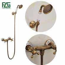 цена на Antique Brass Bathroom Bath Wall Mounted Hand Held Shower Head Kit Ceramics Shower Faucet Sets Wall Mounted FLG40012A