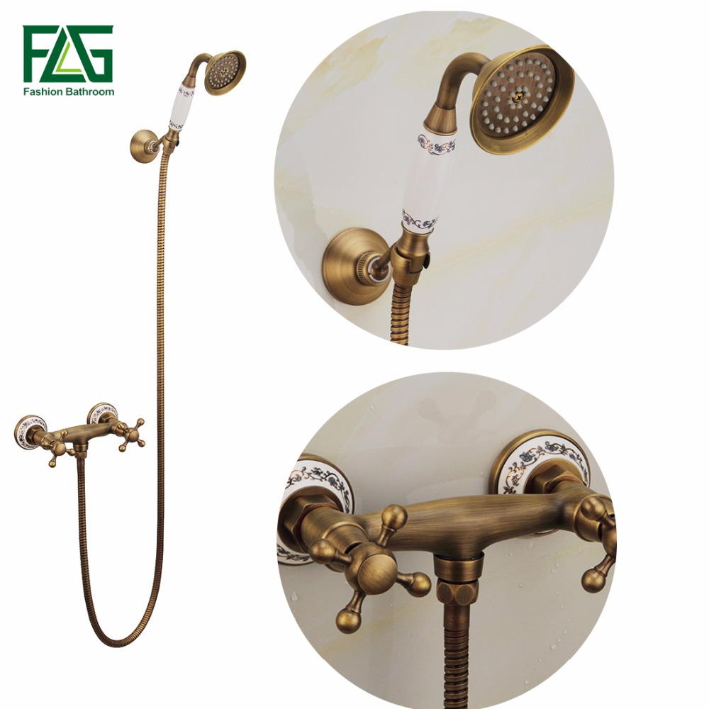 FLG Antique Brass Bathroom Bath Shower Mixer Wall Mounted Hand Held Shower Head Kit Bathroom Ceramics Shower Faucet Sets