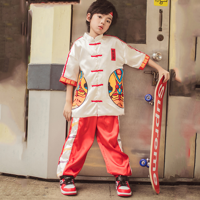 Ropa Hip Hop Clothes Children Kongfu Clothing Red Suit Street Dance Clothing For Boys Breaking Stage Hip Hop Dance Wear BL1924