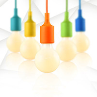 Colorful E27 Socket Base Silicon Pendant Light Hanging Lamp Holder With Hard Wired Rope DIY Art