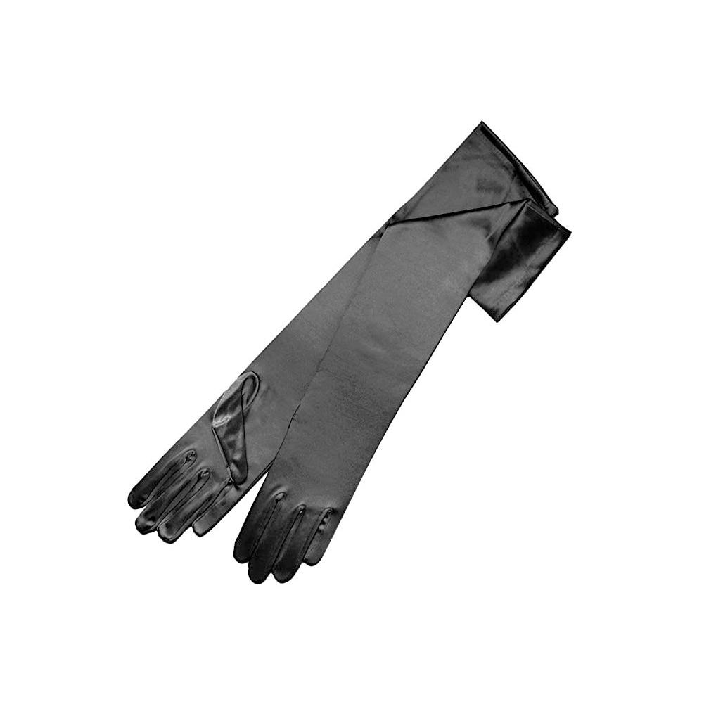 1 Paar 58 Cm Frauen Elegante Oper Lange Satin Handschuhe Bankett Hochzeit Abend Halloween Phantasie Kleid Partei Kostüm Handschuhe Schwarz Blac Hohe Belastbarkeit