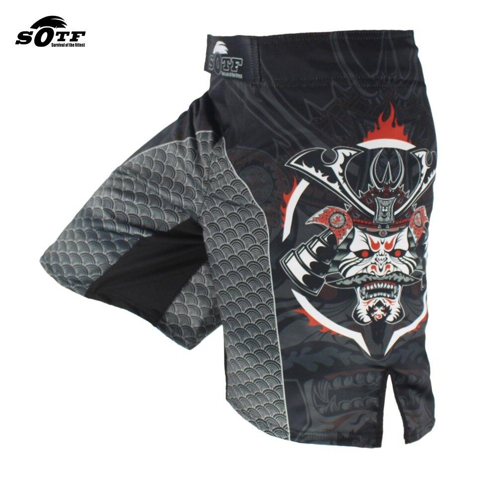 SOTF Noir Dominateur Samurai Combat Combat Fitness Shorts Tiger Muay Thai mma shorts vêtements vêtements de boxe mma court lutte