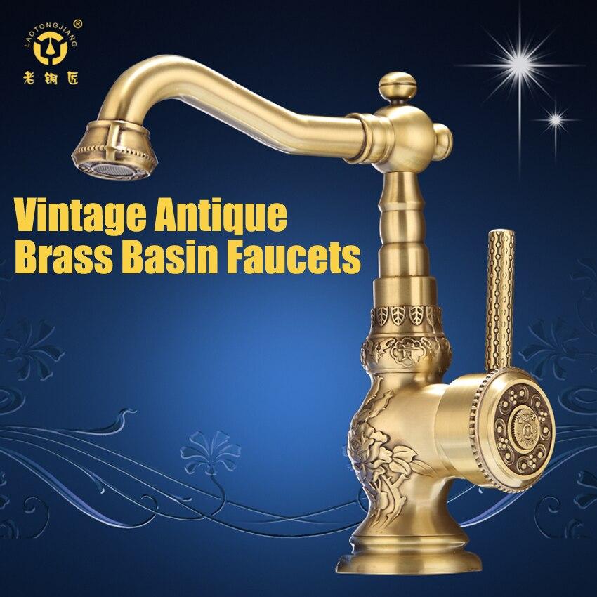 1PCHigh quality Retro Vintage Antique Brass Bathroom Sink Basin Faucet Mixer Tap cold / hot water LA10120 aj141005 retro stylish bathroom soap holder dish red brass
