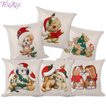 FENGRISE Cute Dog Cats Animal Sery Cushion Cover Pillow Christmas Decorations For Home Happy Birthday PillowCase New Year Gift(China)