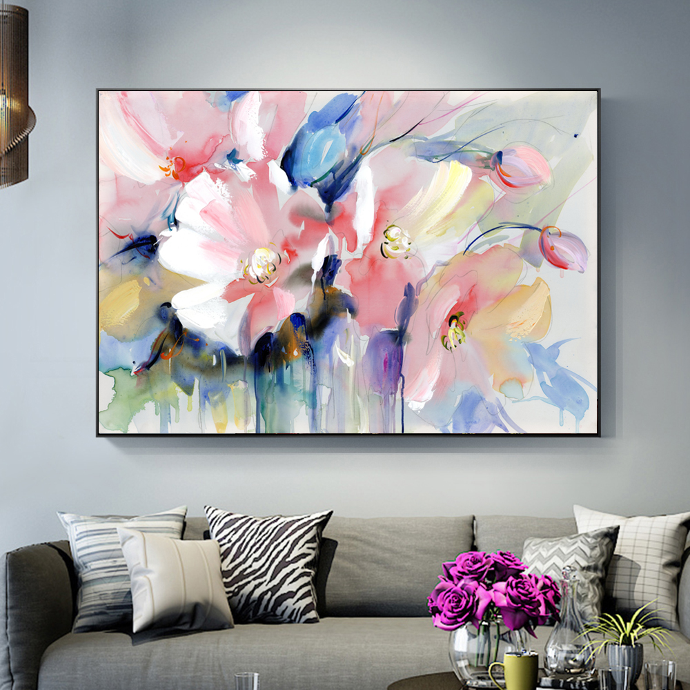 Abstract Watercolor Flower Oil Painting Print On Canvas Modern Wall Art Flower Picture For Living Room Wall Poster Cuadros Decor