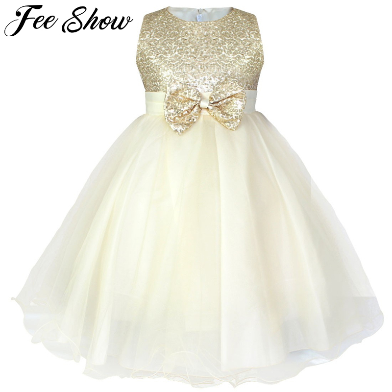 Kids Sequin   Flower     Girls     Dress   Kids Pageant Party Wedding Ball Gown Prom Princess Formal Occassion   Girls   2-12 Knee-Length   Dress