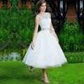 A Line Bateau Sleeveless Backless Appliques Custom Tea Length Bridal Gowns vestido de noiva White Short Wedding Dress