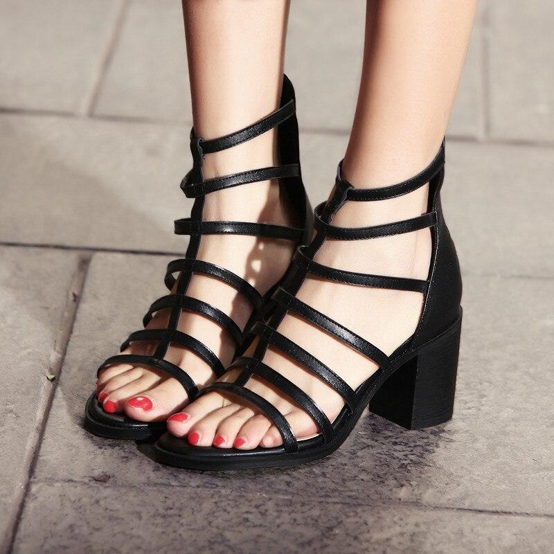 Talons À Sandales Ymechic Bloc Noir Gladiateur Haute Boot Ouvert Chaussures Femme Cheville Bout 2018 Véritable Femmes Cuir Zipper En Sandale D'été Dame 8xawfIq