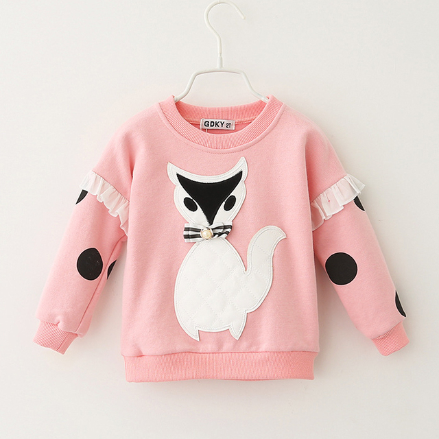 2017 spring and autumn new style  girls  fox cartoon sweater shirts Hoodies children kids fashion cute beautiful Sweatshirts
