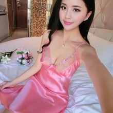 f7982e2ebba0 2018 summer long satin nightgown comfy deep v nightie sexy a line wrap slip  split party