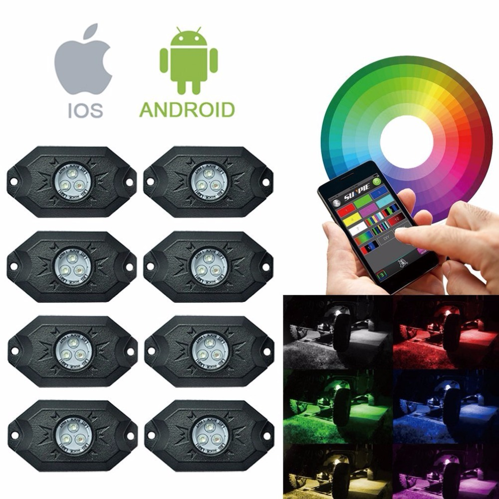 8 Pods Multicolor Neon LED Light Kit RGB LED Rock Lights with Bluetooth Controller For Timing, Music Mode, Flashing vosicky 4 pods multicolor neon led light kit rgb led rock lights with bluetooth controller for timing music mode flashing
