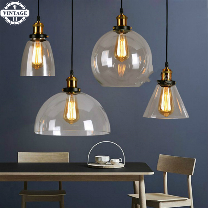 Antique American country Pendant Lights Amber Glass Hanging Bell Pendant Lamp E27 Edison Light Bulb Dinning room Home Decoration one light frosted glass antique rust hanging lantern