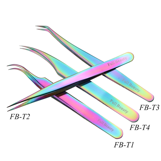 1pcs Curved Straight Tweezers Rainbow Eyelash Extension Nails Decor Picker Dead Skin Remover Manicure Makeup Nail Tools JIFBT1-4 3