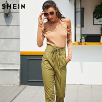 SheIn Pink Open Shoulder Double Strap Curved Hem Blouse Autumn Casual Cold Shoulder Tops Long Sleeve