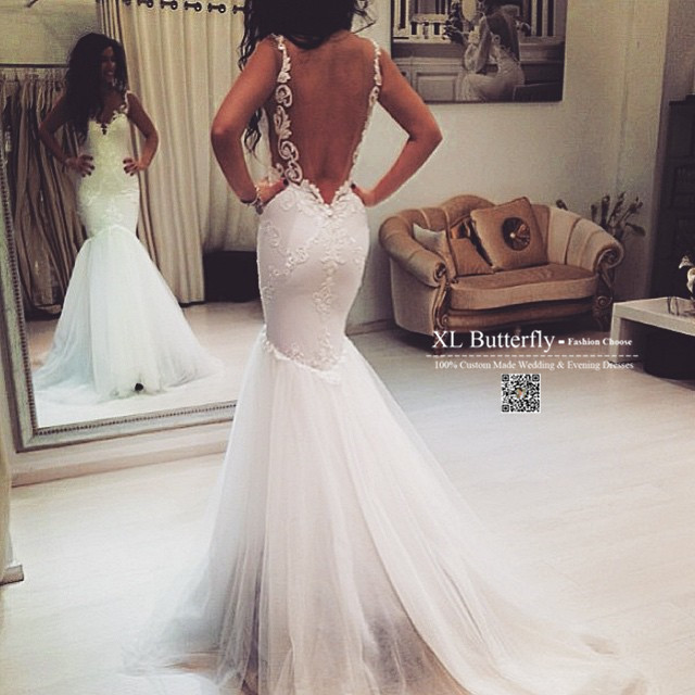 Spaghetti Strap Lace Mermaid Wedding Gowns: Sexy Backless Ivory Lace Mermaid Wedding Dresses Spaghetti