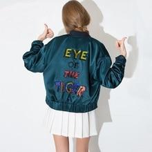 Sequins Baseball Jacket Spring 2016 Women Letter Embroidery Pattern Varsity Jackets Harajuku Coat Free Shipping