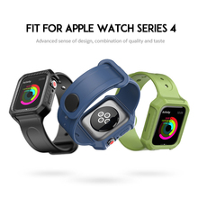 Laforuta For Apple Watch Band 44mm 40mm Soft Silicone Sports Strap with Protective Case for iWatch Series 4 Men Women Bracelet