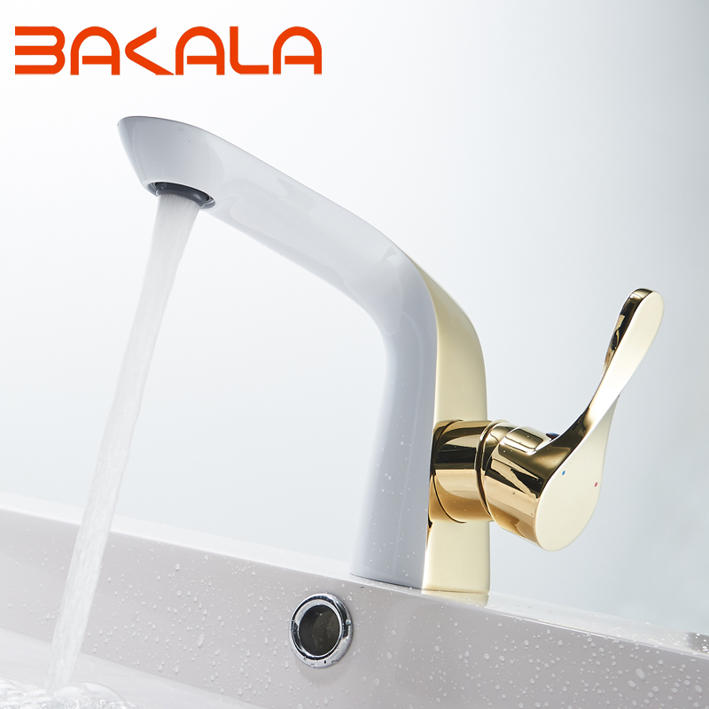 BAKALA robinet de salle de bains de luxe or blanc peinture robinet bassin évier mélangeur robinet en laiton fait pont monté robinet de bassin BR5902
