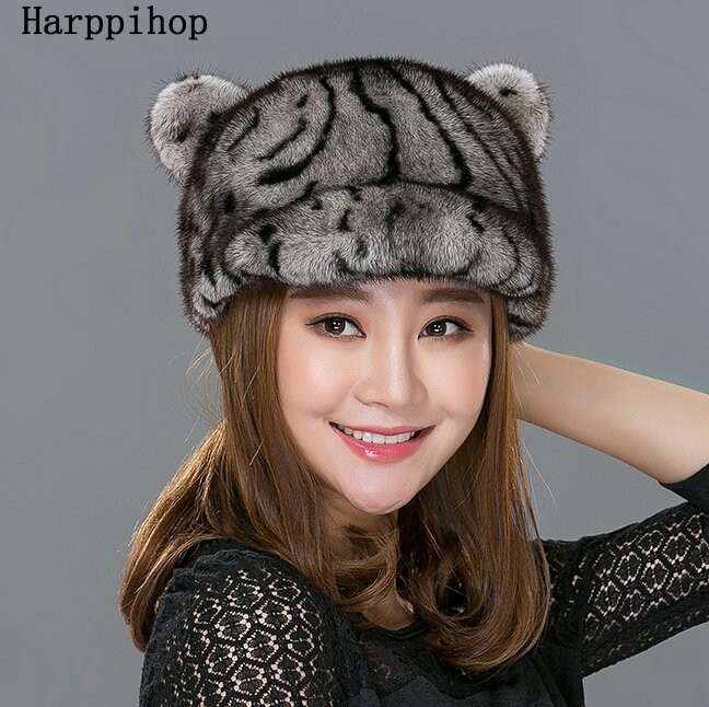 Women fur hat autumn winter real mink fur hats 2016 new fashion casual mink fur cap high quality warm casquette female brand hat new style winter hat real female mink fur hat for women knitted mink fox fur cap female ear warm hat cap silver fox part less