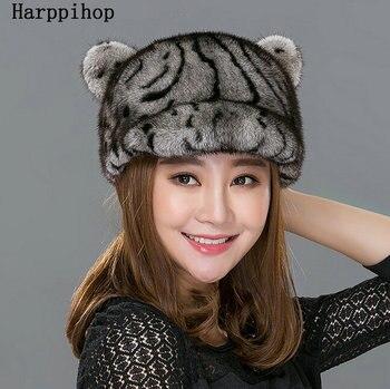 Women fur hat autumn winter real mink fur hats 2016 new fashion casual mink fur cap high quality warm casquette female brand hat