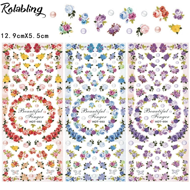 Diffe Colors Neatly Arranged Beautiful Flowers Water Slide Nail Decals Art Decorations For Beauty