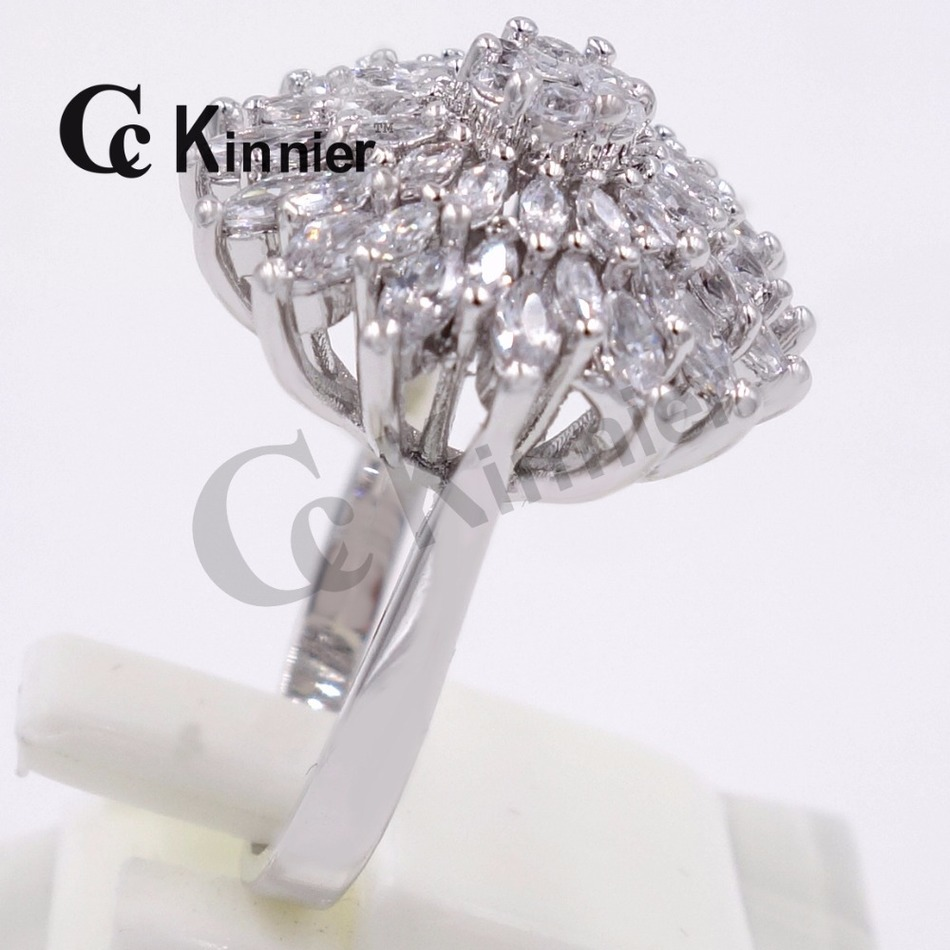 Dubai Copper Ring Silver Plating Big Crystal Ring Women