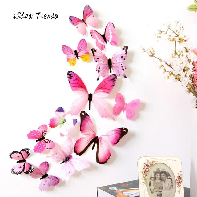 12pcs 3D Cute Butterfly Rainbow Wall Stickers Colorful Decal Creative Home TV Background Kids Bedroom Decorations Wall Decals