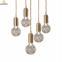 Pattern Glass luster LED Pendant Lights Industrial deco lighting Fixtures Living room Hanging pendant Lamps Suspension Luminaire